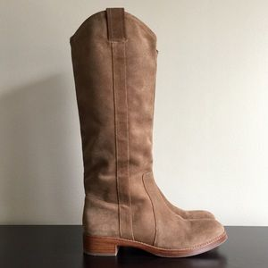 VIA SPIGA Gillian Tall Pull on Boots Tan Suede